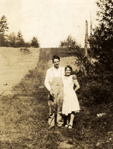My father, Hilary, and my mother, June, on his parents' homestead around 1926, two years before they married.